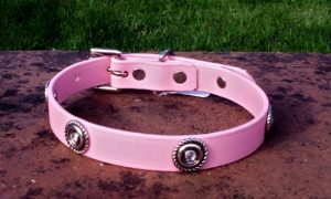 Small BETA® Pale Pink Dog Collar With Rope Conchos and Pink Rhinestones-0