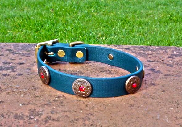 Small BETA® Dark Green Dog Collar With Freya Conchos-0