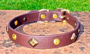 Small BETA® Brown Dog Collar With Keystones and Rivets-0