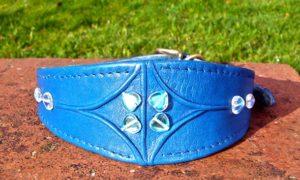 Medium Blue Lamb Nappa Leather Dog Collar With Marino Wool Lining And Hearts-0