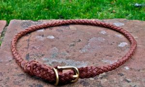 Plaited Leather House Dog Collar In Tan-0