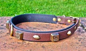 Large BETA® Brown Dog Collar With BETA® Black Underlay, Celtic Squares and Hexagons-0