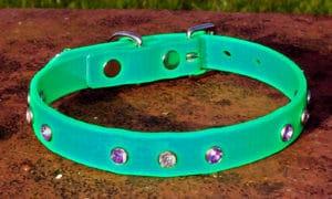 Small BETA® Light Green Dog Collar With Purple And White Rhinestones-0