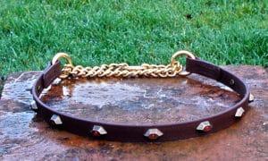 Large BETA® Brown Half Choke Dog Collar With Hexagonal Red Crystal Conchos-0