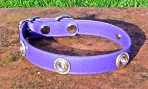 Small BETA® Purple Dog Collar With Rope Conchos And Rhinestones-0